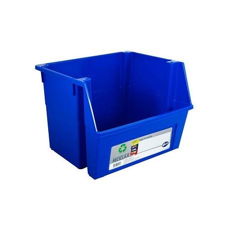Contenedor reciclaje azul.