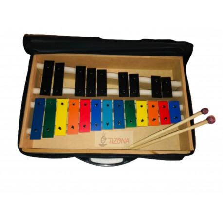 Metalófono Cromático 22 Notas de Color con Funda